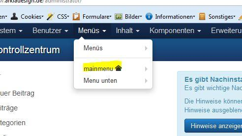 mainmenue in joomla 3